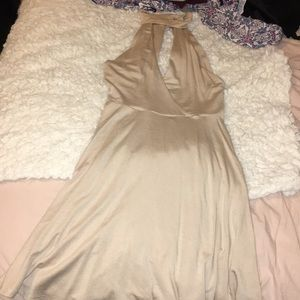 High neck, cut out, taupe dress
